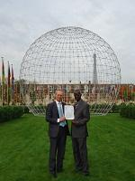 Marie Caillot Jens Boel, Head Archivist at UNESCO and Papa Momar Diop, Ambassador of Senegal at UNESCO