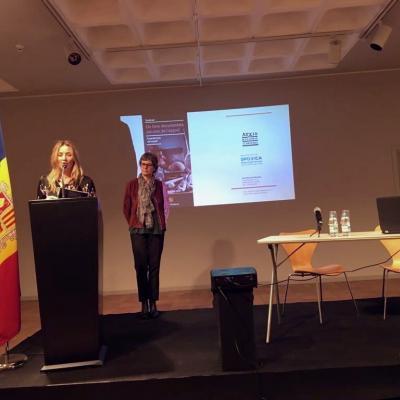 Olga Gelabert (Minister of Culture -Andorra-) and Susanna Vela, head of Andorra National Archive