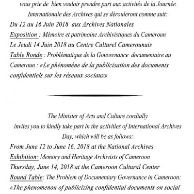 IAD18 Cameroon Invitation Minister of Arts and Culture
