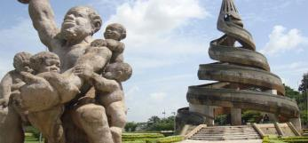 Colour photograph of the monument to the reunification of Cameroon
